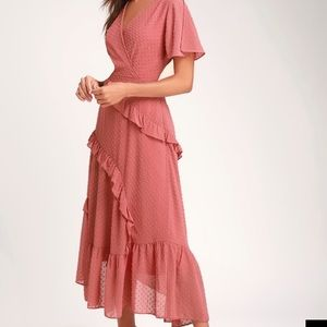 Next to you Swiss dot rusty rose ruffled midi